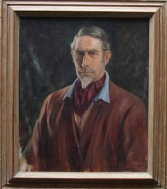 Self Portrait of Artist -  British 1940's art male portrait oil painting