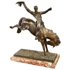 Maurice Guiraud Rivière & Etling Paris Cowboy at the Rodeo Art Deco Statue