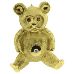 Maurice Guyot Teddy Bear Brooch with Diamond and Rubies