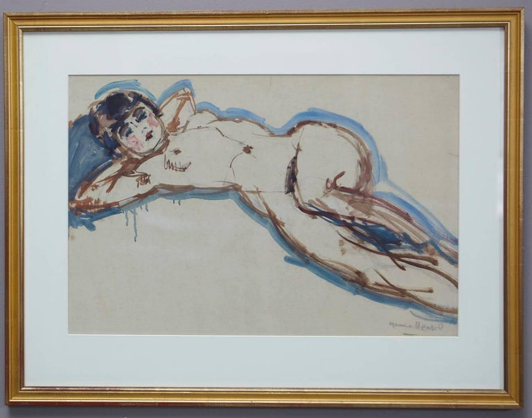 Lovely watercolor of a female nude by Maurice Henri Hensel (French, 1890-1958), circa 1940s.