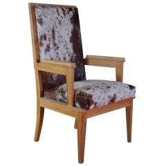 Maurice Jallot Pair of Oak Armchairs with Pony Hide