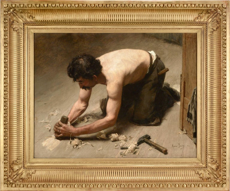 Le raboteur (The Planer) - Painting by Maurice Jeannin
