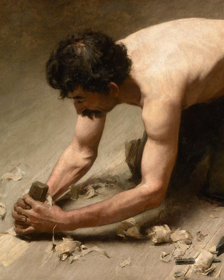 Le raboteur (The Planer) - Realist Painting by Maurice Jeannin