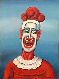 Clown, Modernist Oil Painting on Board WPA Artist