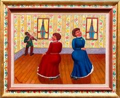 Dance of the In laws Wedding Scene Judaica Shtetl Oil Painting WPA Jewish Artist