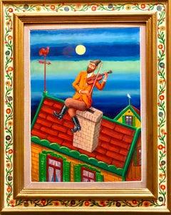 Fiddler on the Roof Modern Judaica Shtetl Oil Painting WPA Jewish artist
