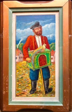 Organ Grinder with Parrot Modern Judaica Oil Painting WPA Jewish artist