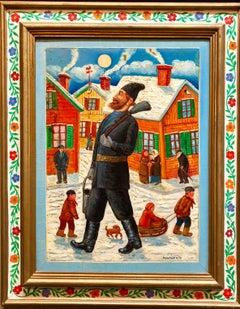 Proud Chimney Sweep Modern Judaica Shtetl Oil Painting WPA Jewish artist