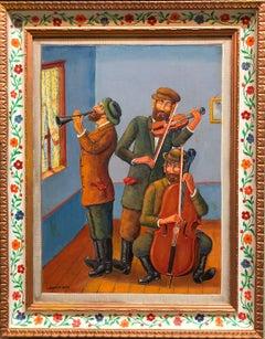 Three Klezmer Musicians Modern Judaica Shtetl Oil Painting WPA Jewish artist