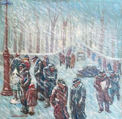 Waiting for the Bus in a Blizzard- WPA American Scene 1938 NYC Modernism Realism