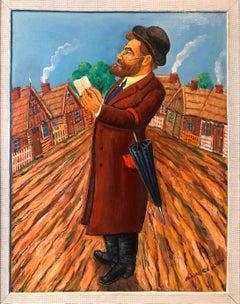 Whimsical Judaica Shtetl Shadchan Matchmaker Oil Painting WPA Jewish Folk Artist