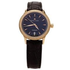 Maurice Lacroix Black 18K Yellow Gold Diamond Les Women's Wristwatch 30MM