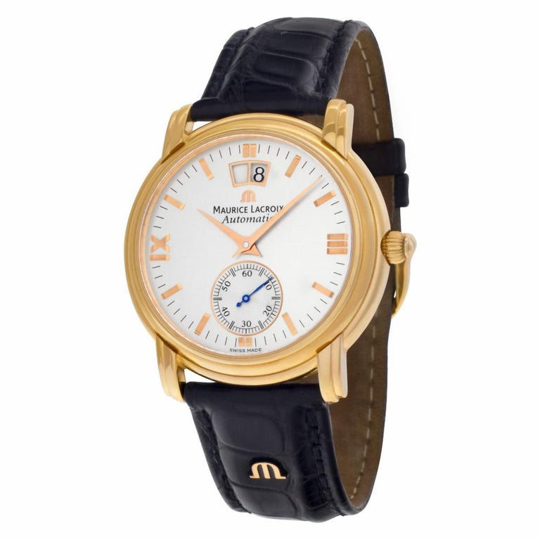 Maurice Lacroix grand guichet Reference #:58788. Maurice Lacroix grand guichet in 18k rose gold on original black crocodile strap with tang buckle. Auto w/ subseconds and date. Ref 58788. Circa 2000s. Fine Pre-owned Maurice Lacroix Watch. Certified
