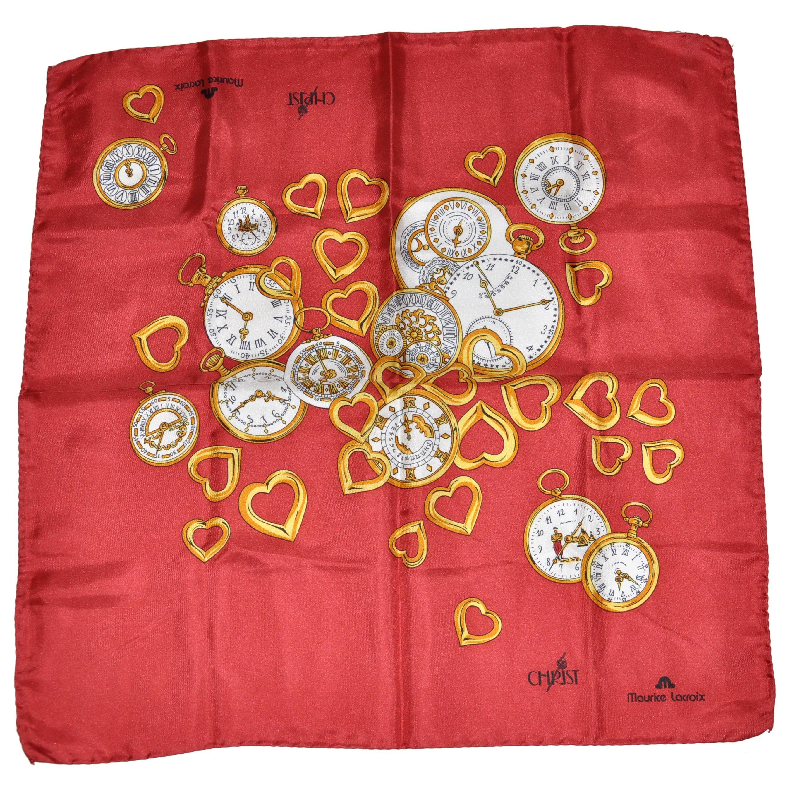 "Maurice LaCroix ""Love of Clocks"" Silk Handkerchief"