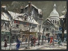 """""""La Place du Tetre Sous La Neige"""" (Montmatre, Paris)"""