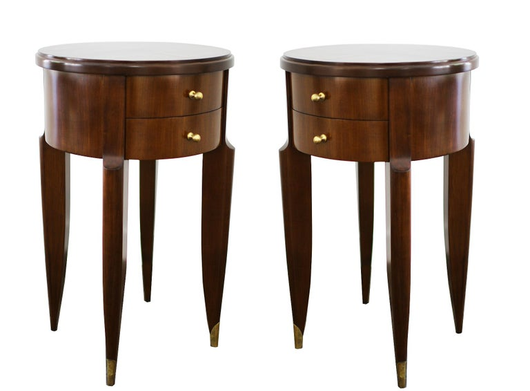Wood Maurice & Leon Jallot Pair of Side Tables, 1945 For Sale