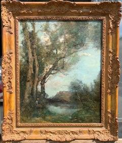 French Impressionist oil landscape, figure in the Barbizon forest near Paris