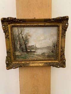 Impressionist French river landscape from the Barbizon forest region