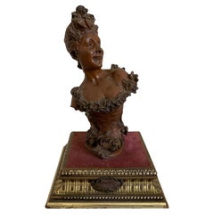 Maurice Maignan Bronze Female Bust Sculpture