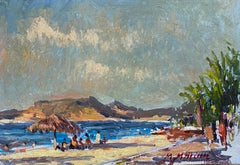 French Impressionist En Plein Air Oil Painting - Coastal Scene With Figures
