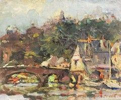 MAURICE MAZEILIE FRENCH IMPRESSIONIST OIL - FRENCH RIVER & TOWN VIEW