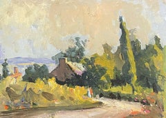 MAURICE MAZEILIE - FRENCH IMPRESSIONIST OIL - SUMMER COUNTRY LANE WITH COTTAGE