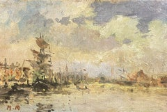 MAURICE MAZEILIE FRENCH IMPRESSIONIST SIGNED OIL - TALL SHIP IN FRENCH HARBOUR
