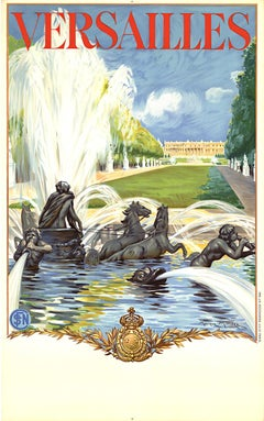 Versailles (France) original lithograph vintage SNCF travel poster