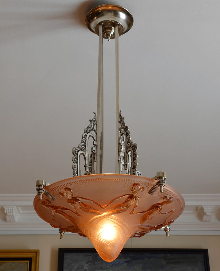 Maurice Model French Art Deco Mermaid Pendant Chandelier, 1930s In Good Condition For Sale In Saint-Amans-des-Cots, FR