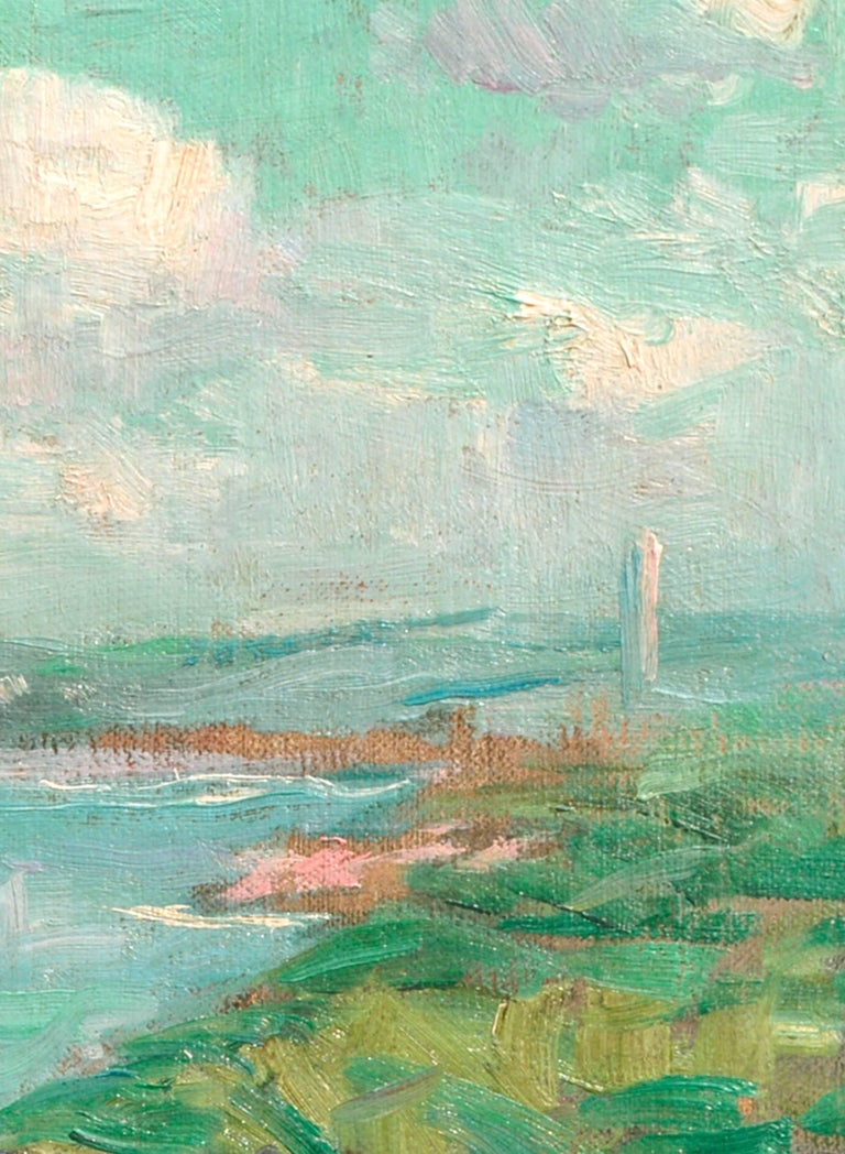 Earl View of the Potomac River Landscape with Washington Obelisk Monument 1914 - Blue Landscape Painting by Maurice Molarsky