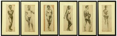 Suite of Six Art Deco Charcoal Figure Drawings