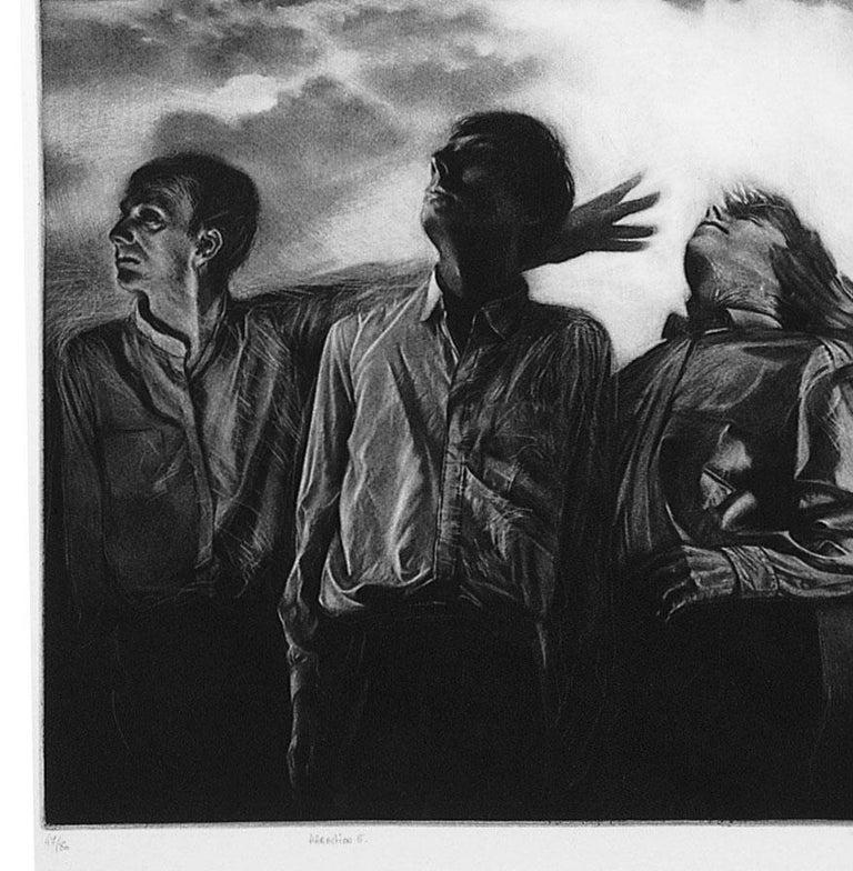 Attraction 5 (Six men gaze rightward. 1 points upwards in landscape in turmoil) - Print by Maurice Pasternak