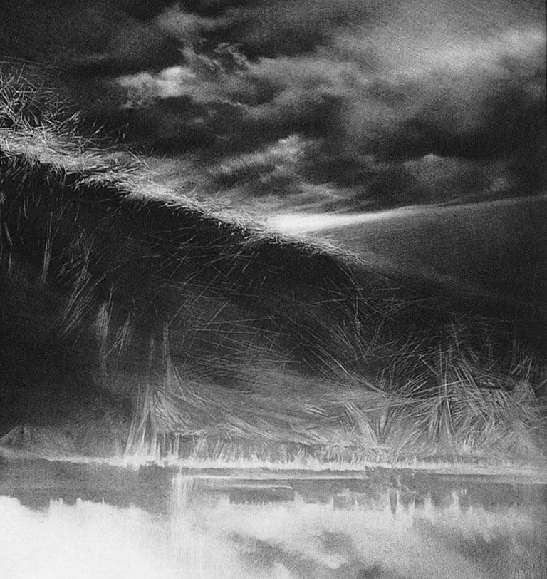 Attraction 5 (Six men gaze rightward. 1 points upwards in landscape in turmoil) - Contemporary Print by Maurice Pasternak