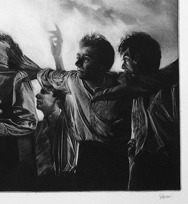 Attraction 5 (Six men gaze rightward. 1 points upwards in landscape in turmoil) - Black Figurative Print by Maurice Pasternak