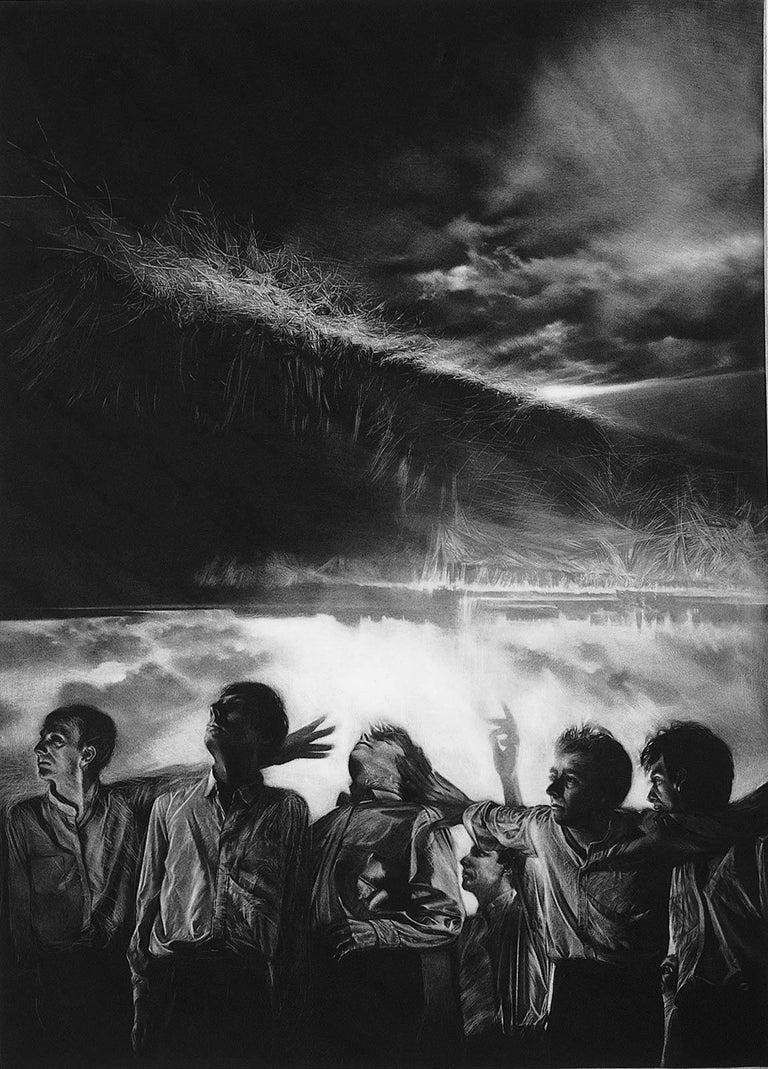 Maurice Pasternak Figurative Print - Attraction 5 (Six men gaze rightward. 1 points upwards in landscape in turmoil)