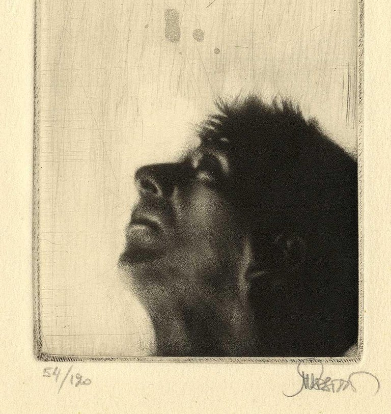 Looking Up (left profile of  a man looking toward the heavens) - Surrealist Print by Maurice Pasternak