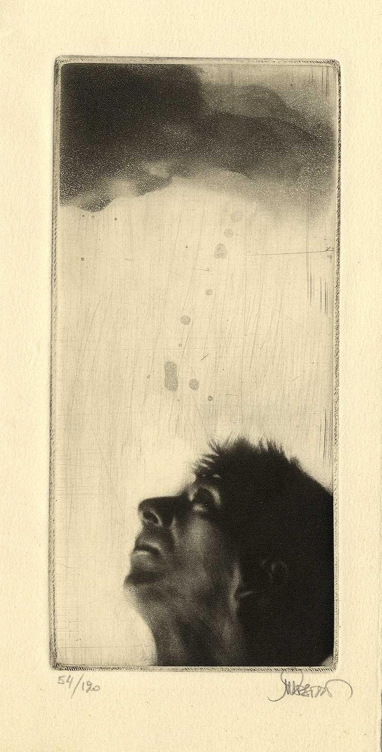 Looking Up (left profile of  a man looking toward the heavens) - Beige Figurative Print by Maurice Pasternak