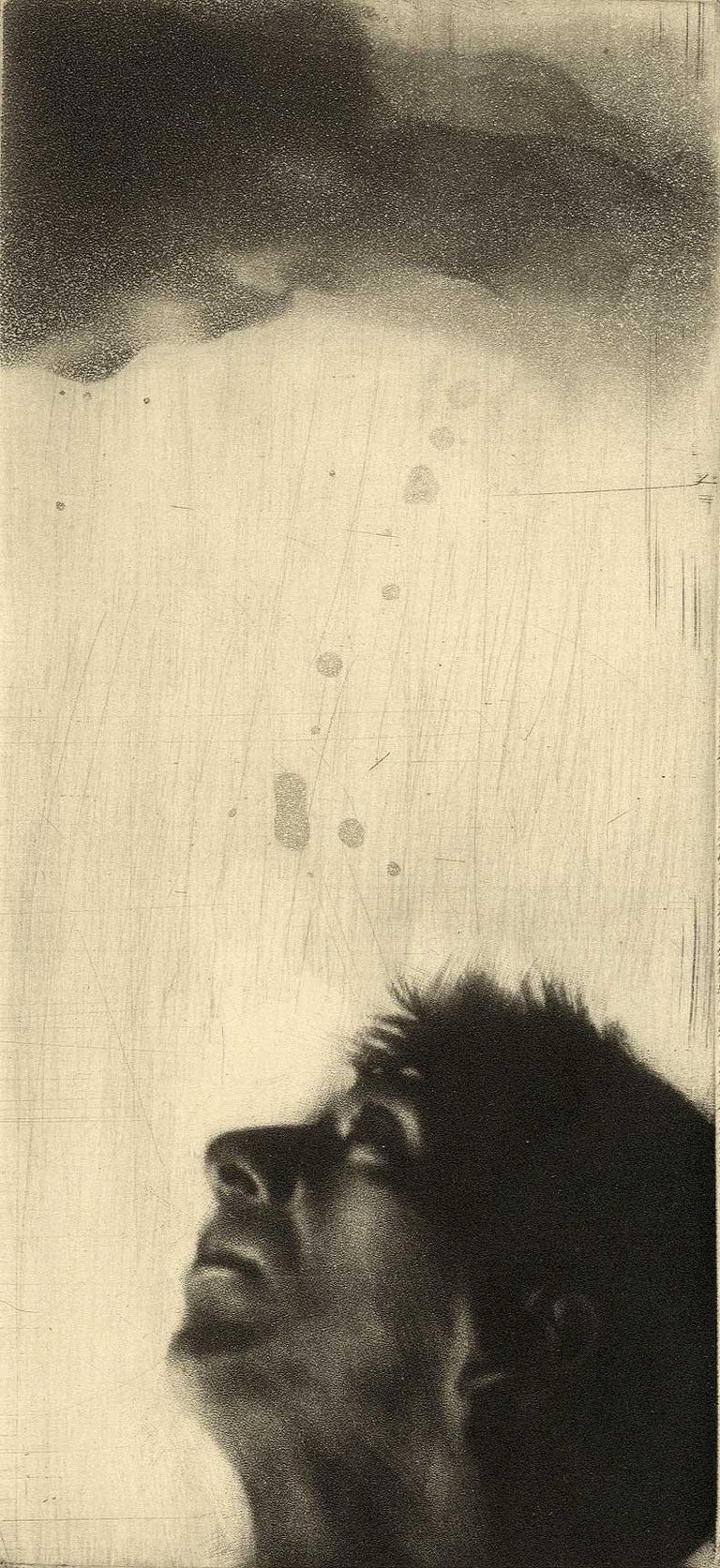 Maurice Pasternak Figurative Print - Looking Up (left profile of  a man looking toward the heavens)