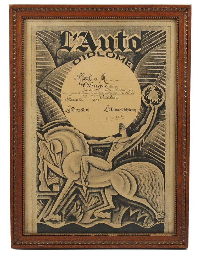 Rare French Art Deco print on paper, featuring a diploma from a French automobile magazine named
