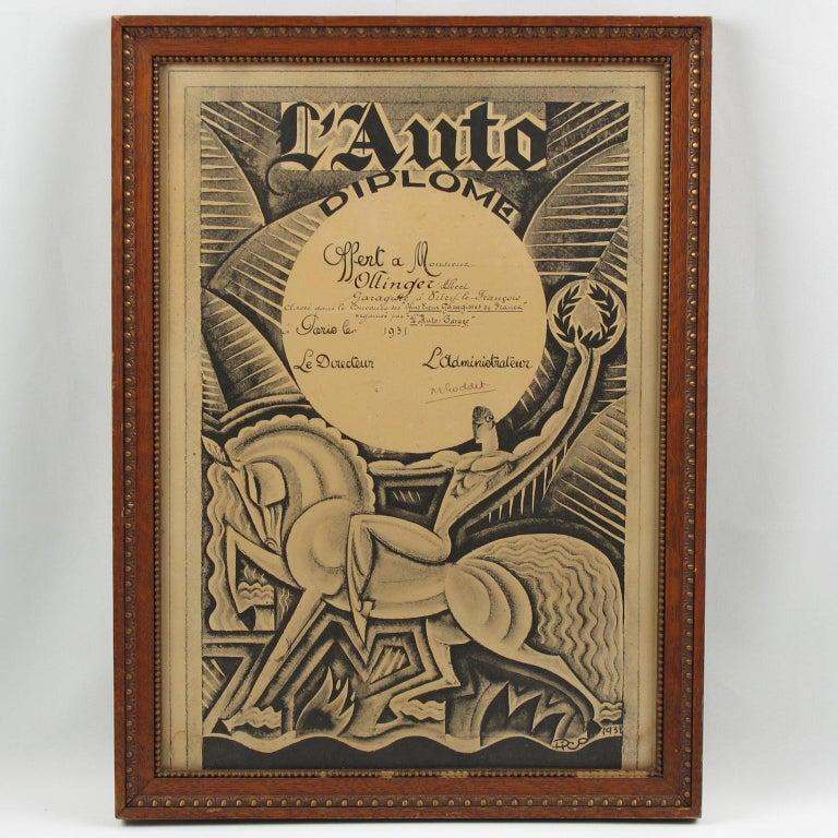 Maurice Picaud Aka Pico Rare French Automobile Magazine Art Deco Print Design In Good Condition In Atlanta, GA