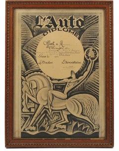 French Automobile Memorabilia Art Deco Magazine Print Designed by Maurice Pico