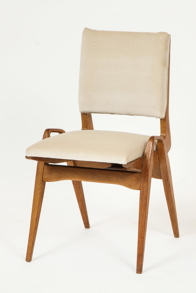 Six Maurice pre wood dining chairs white beige velvet, midcentury, France, 1950s-1960s.  Beautiful sculptural Maurice pre dining chairs. Re-upholstered in a white beige velvet. Wood in lovely original condition. Measures: Depth 20 inches Width 18