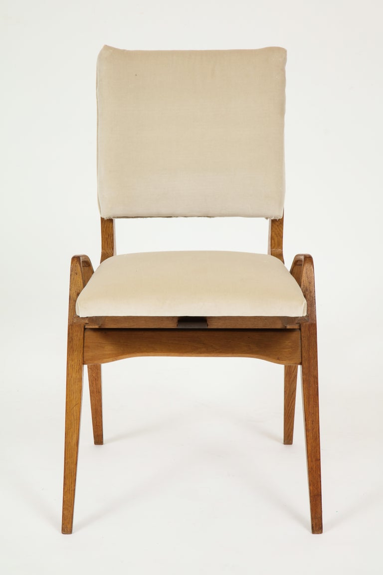 Maurice Pre 6 Dining Chairs, Midcentury, France, 1950s In Good Condition For Sale In New York, NY