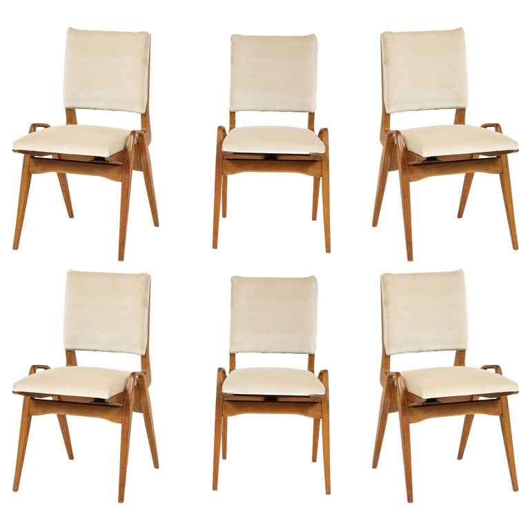 Maurice Pre 6 Dining Chairs, Midcentury, France, 1950s For Sale