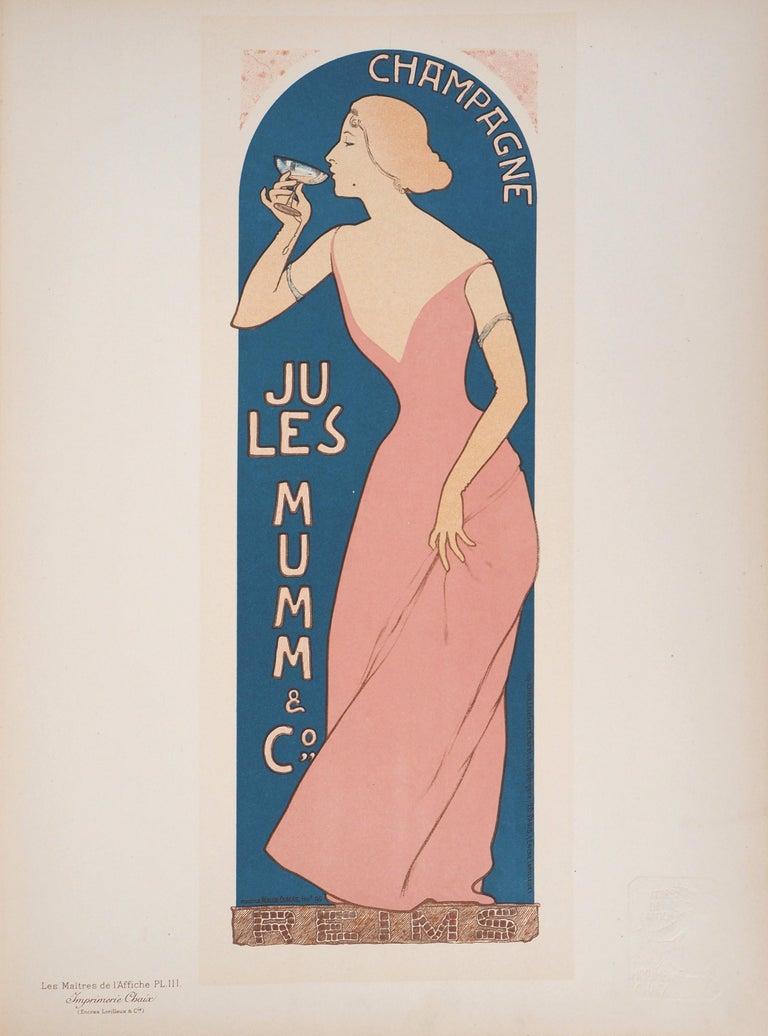 Champagne Jules Mumm - Original lithograph (Les Maîtres de l'Affiche), 1897 - Print by Maurice Réalier-Dumas