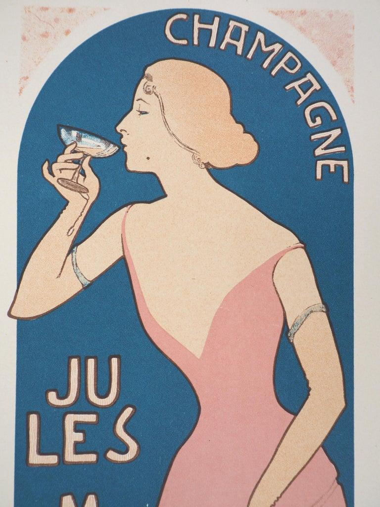 Champagne Jules Mumm - Original lithograph (Les Maîtres de l'Affiche), 1897 - Beige Figurative Print by Maurice Réalier-Dumas