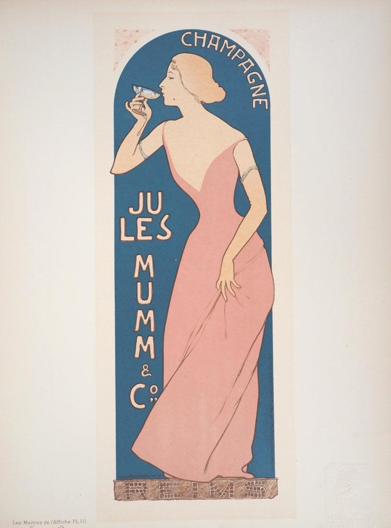 Maurice Réalier-Dumas Figurative Print - Champagne Jules Mumm - Original lithograph (Les Maîtres de l'Affiche), 1897