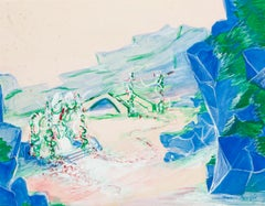 Landscape - Tempera and Watercolor on Paper by Maurice Rouzée - 1950s