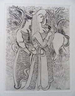 Gallant Love : Woman with a Rose - Original etching, 1943