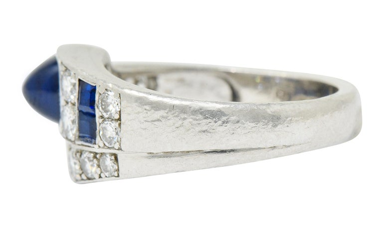 Maurice Tishman Art Deco 2.72 Carat Sapphire Diamond Platinum Band Ring In Excellent Condition For Sale In Philadelphia, PA